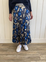 Navy & Gold Print Pleated Skirt