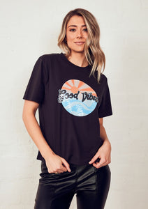 The Vintage Tee - Black with Good Vibes
