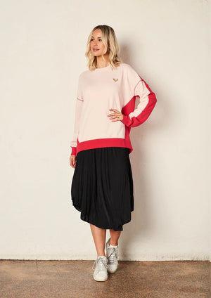 Zip Back Sweat - Light Pink / Hot Pink
