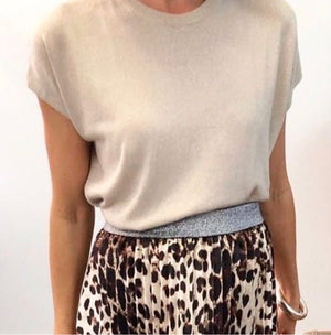 Leopard Print Pleated Skirt
