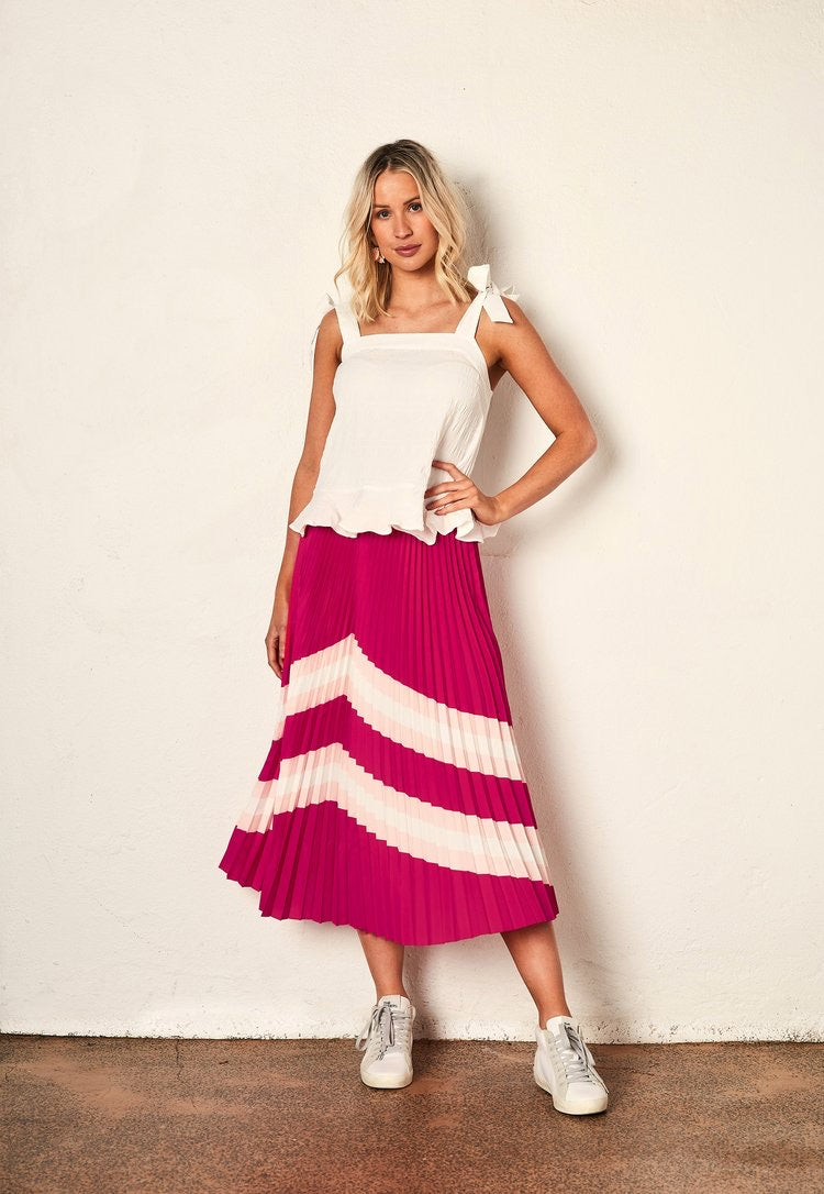 The Horizon Pleat Skirt - Hot Pink Horizon