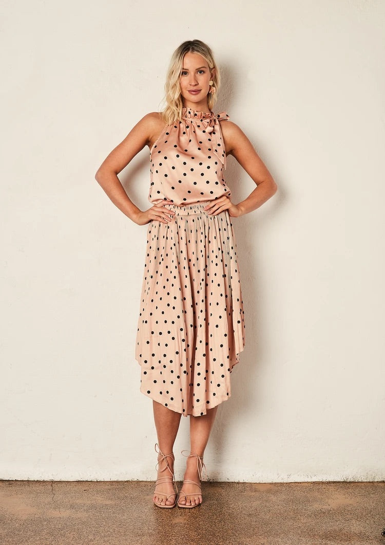 Pleated Skirt - Peach Polka
