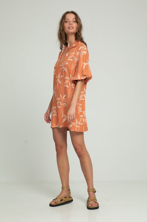 Calma Mini Dress - Coral Banana Leaf Print
