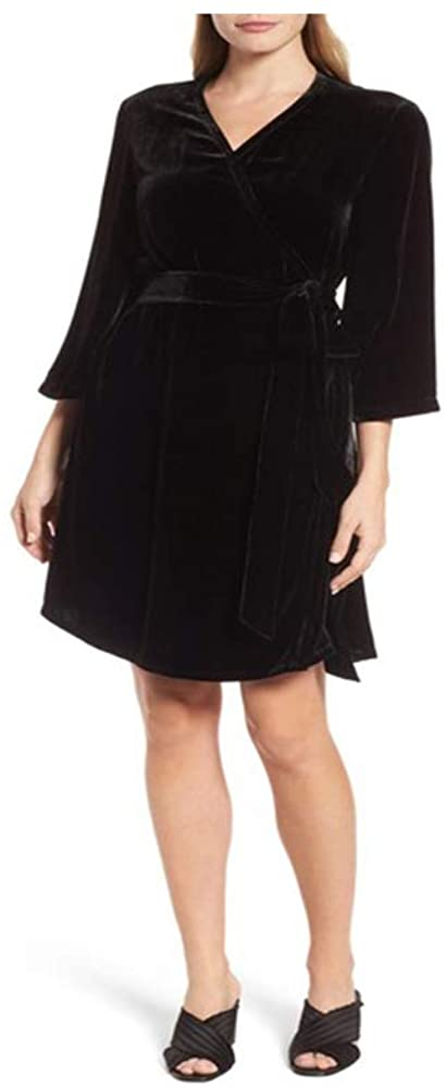 Eileen Fisher Black Velvet V-Neck Wrap Dress