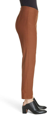 Eileen Fisher Russet Washable Stretch Crepe Slim Ankle Pant