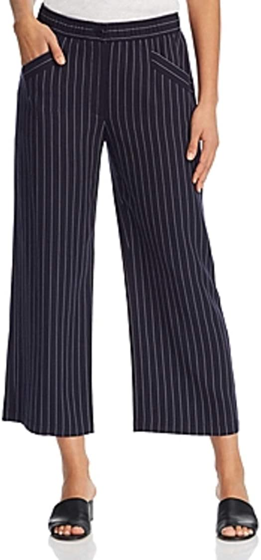 Eileen Fisher Womens Cropped Striped Casual Wide Leg Pants