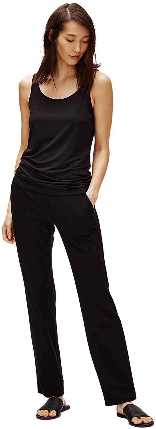 Eileen Fisher Straight Leg Pant with Yoke Style No. EETK-P3852 - Washable Stretch Crepe
