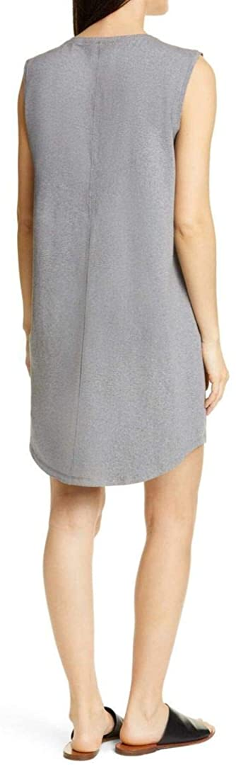 Eileen Fisher Heathered Organic Cotton Scoop Neck Stretch Jersey Dress in Moon
