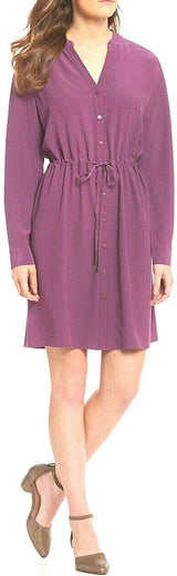 Eileen Fisher Womens Tencel Blend Button-Down Shirtdress