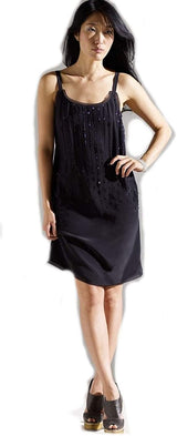 Eileen Fisher Black Beaded Silk Evening Dress 8 10 12 MSRP $338.00