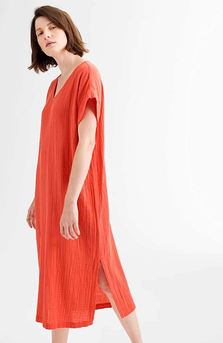 Eileen Fisher Red Lory Organic Cotton Lofty Gauze V-Neck Dress M L XL