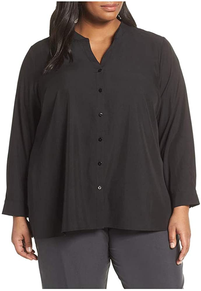Eileen Fisher Black Sandwashed Tencel Stand Collar Top Plus Size