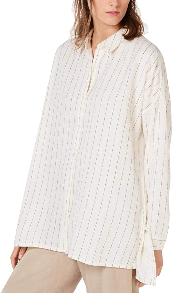 Eileen Fisher Womens Striped Hi-Low Button-Down Top