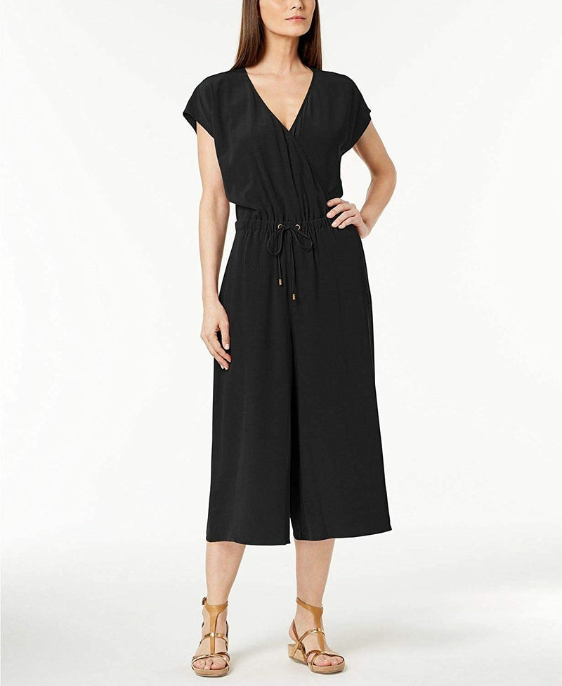 Eileen Fisher Black Tencel Viscose Crepe Wide Leg Jumpsuit L XL M