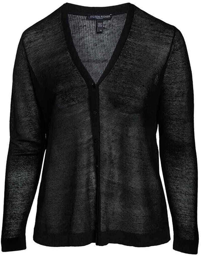 Eileen Fisher Black Fine Organic Linen Crepe Knit V- Neck Cardigan