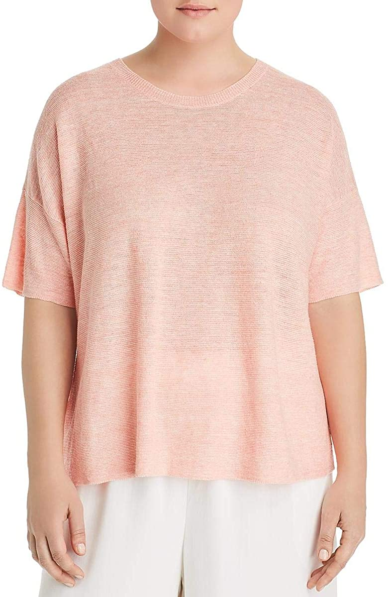 Eileen Fisher Womens Linen Roundneck Tunic Top
