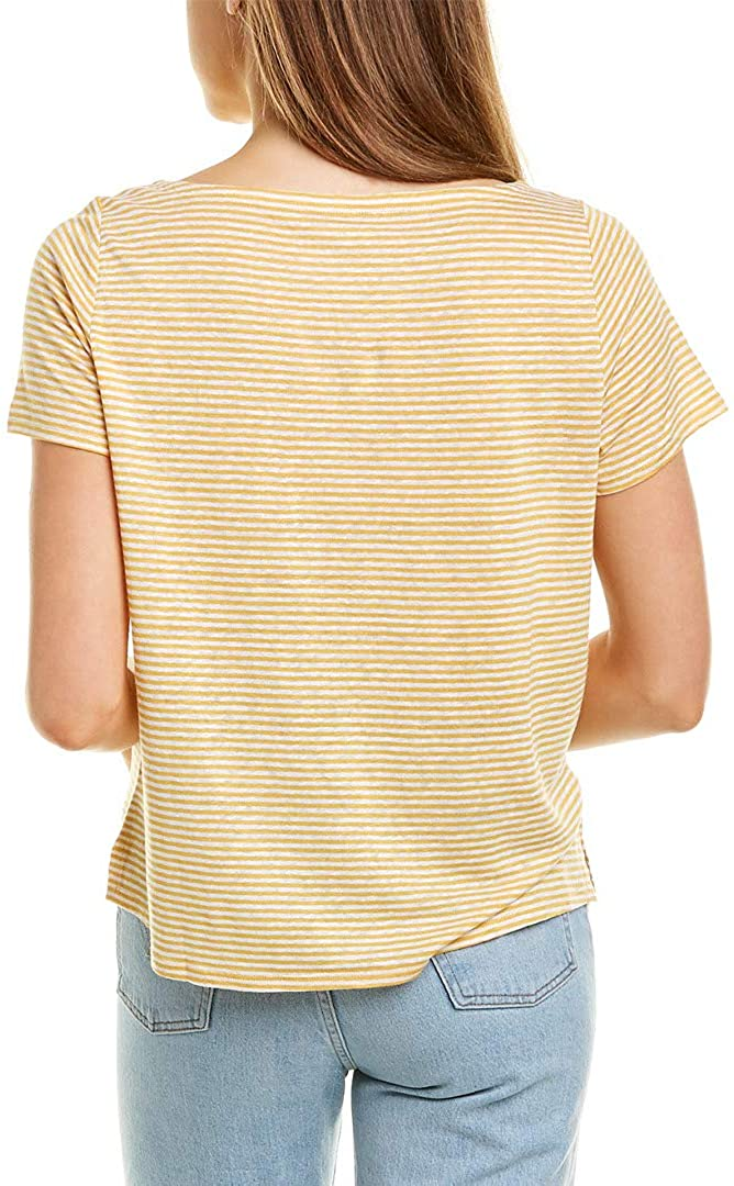 Eileen Fisher Womens Petites Organic Linen Striped Pullover Top
