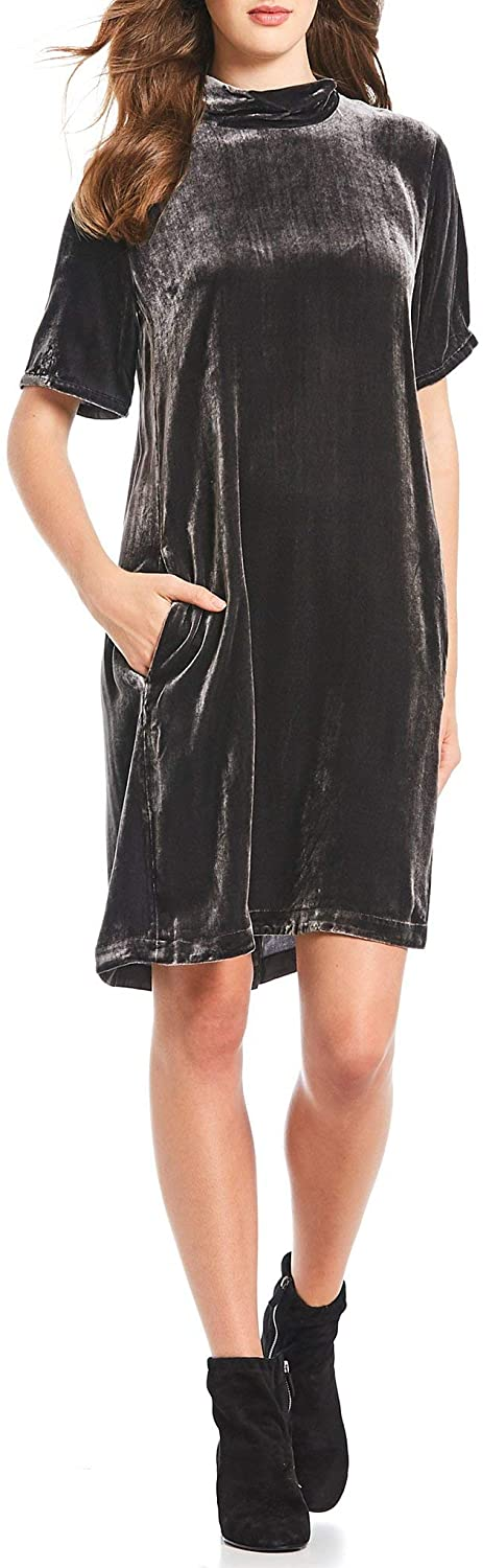 Eileen Fisher Womens Boat Neck Velvet Casual Dress