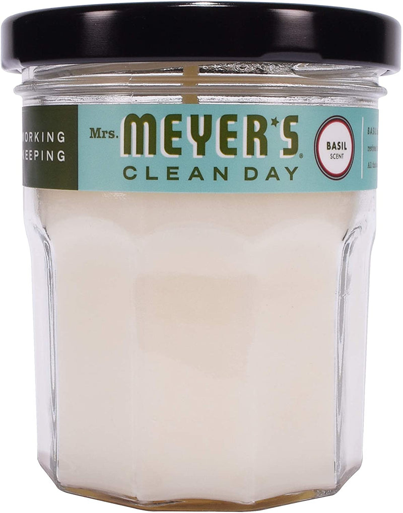 Mrs. Meyer's Clean Day Scented Soy Aromatherapy Candle, 35 Hour Burn Time, Made with Soy Wax, Basil, 4.9 oz