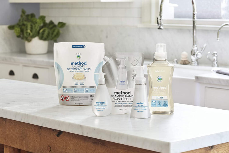 Method Concentrated Laundry Detergent, Free + Clear, 53.5 Fl Oz (Pack of 4), 66 Loads
