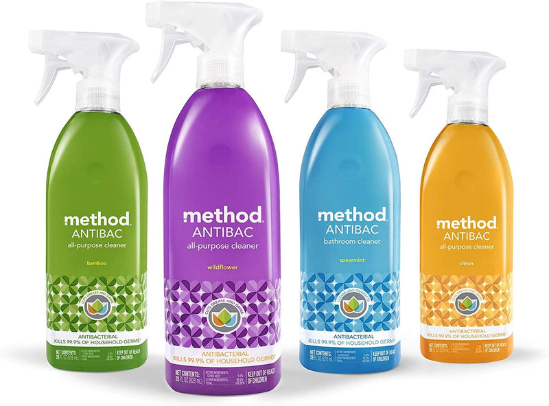 Method Antibacterial Bathroom Cleaner, Spearmint, 28 Ounce (Pack 8)