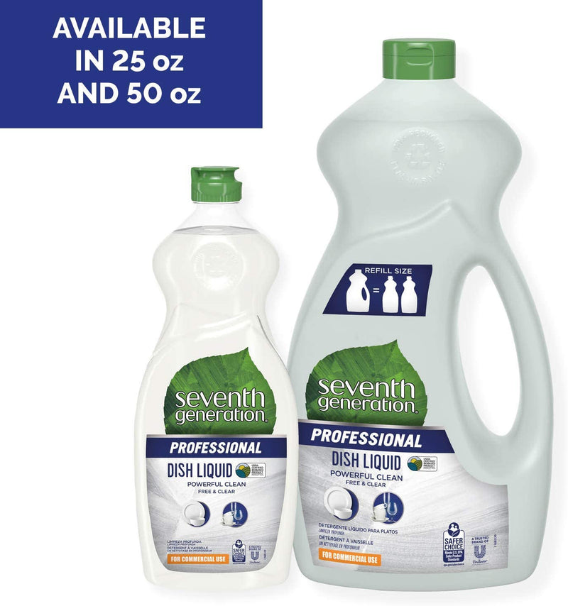Seventh Generation Professional Dish Liquid Refill, Free & Clear, Unscented, Hypoallergenic for Sensitive Skin, 50 fl oz (Pack of 6)