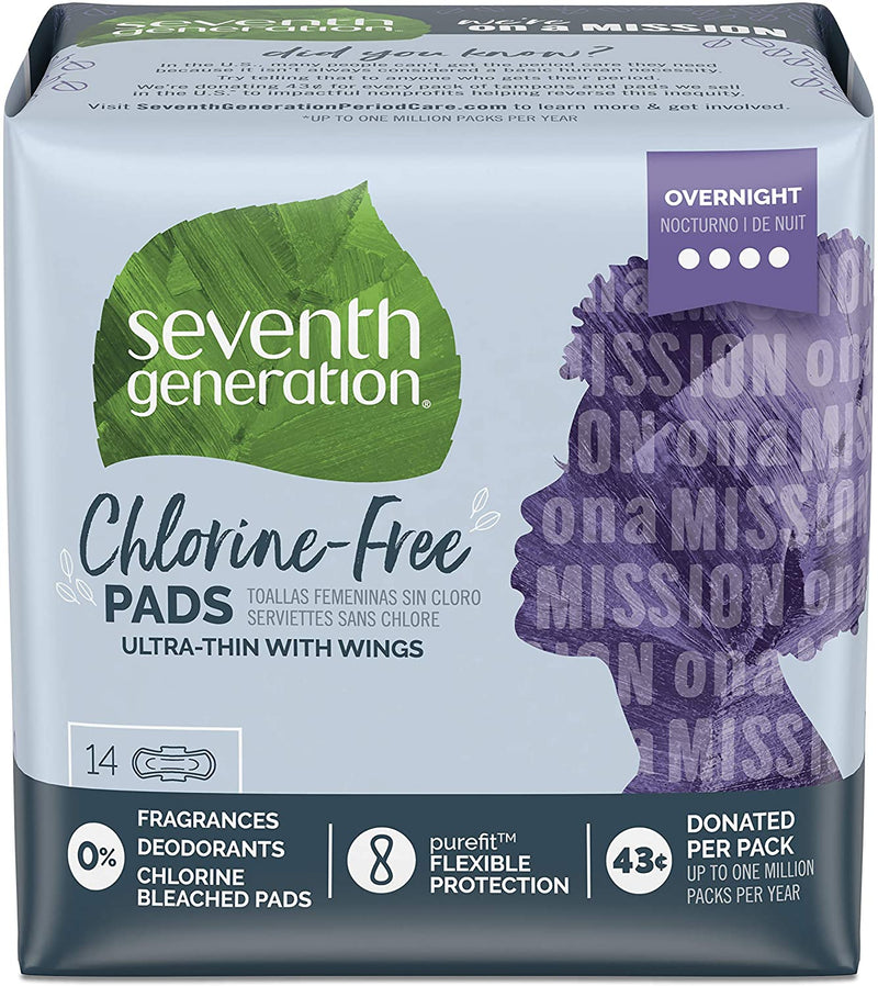 Seventh Generation Ultra Thin Pads, Overnight with Wings, Chlorine Free, 14 count Each, Pack of 6 (Packaging May Vary)