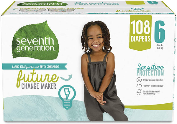 Seventh Generation Baby Diapers, Size 6, 108 count, One Month Supply, for Sensitive Skin