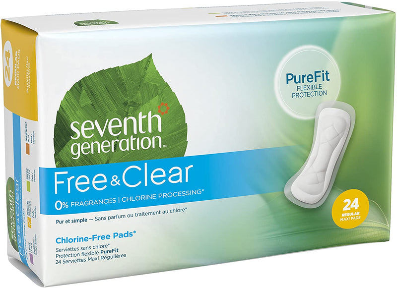 Seventh Generation Maxi Pads, Regular Absorbency, Chlorine Free, 24 count, 12 Pack (Packaging May Vary)
