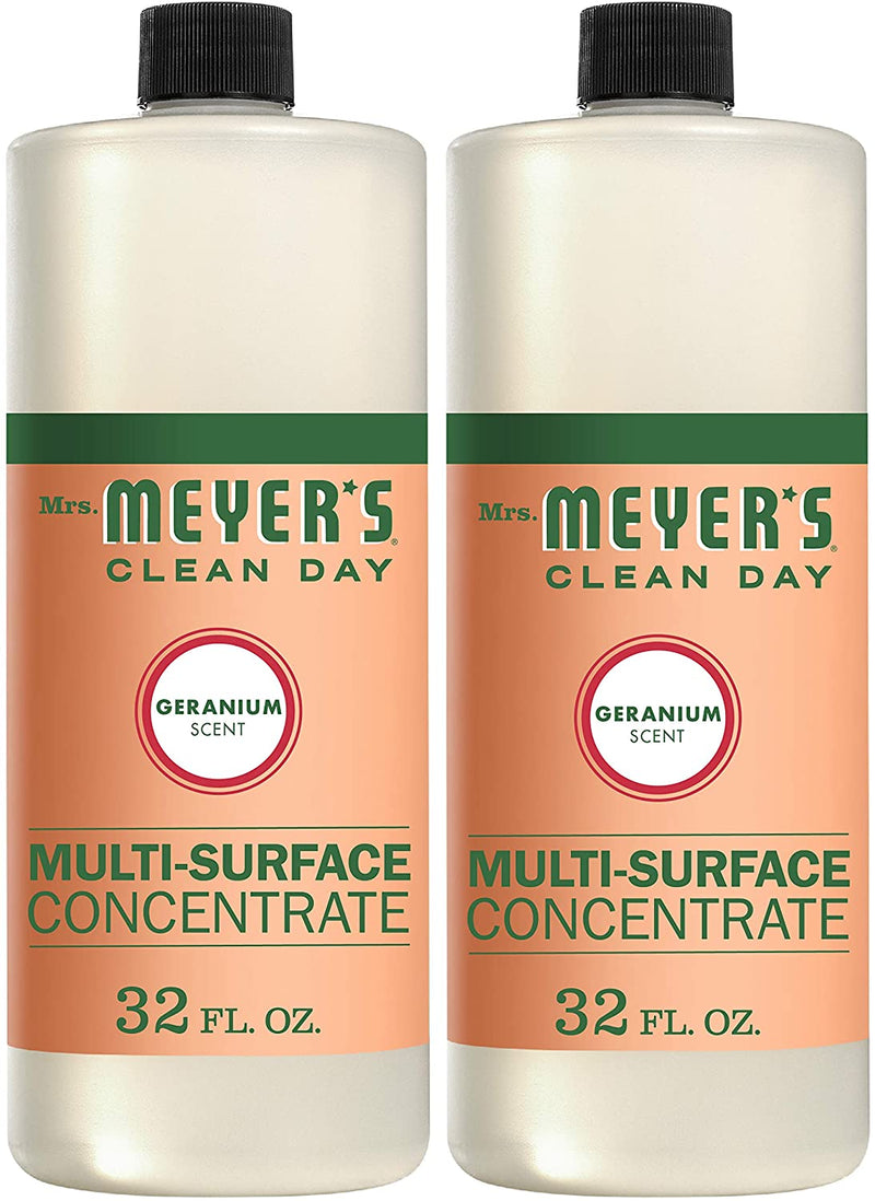 Mrs. Meyer's Clean Day Multi-Surface Cleaner Concentrate, Use to Clean Floors, Tile, Counters,Geranium Scent, 32 oz- Pack of 2