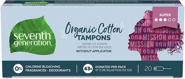 Seventh Generation Tampons, Non-Applicator, Organic Cotton, Super Absorbency, 20 count (Packaging May Vary)