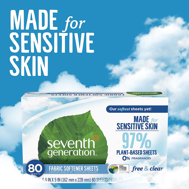 Seventh Generation Dryer Sheets, Fabric Softener, Free and Clear, 80 count, 4 Pack