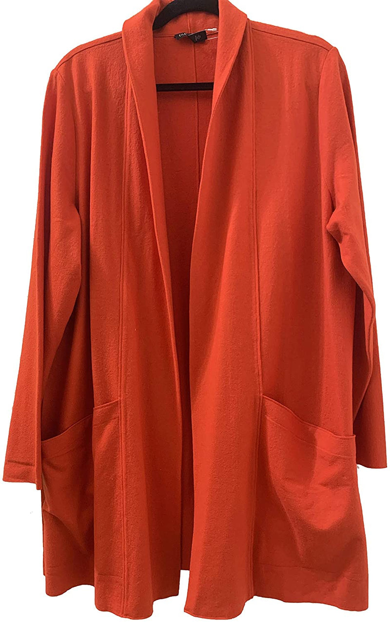 Eileen Fisher Dark Red Lory Boiled Wool Jersey Shawl Collar Jacket