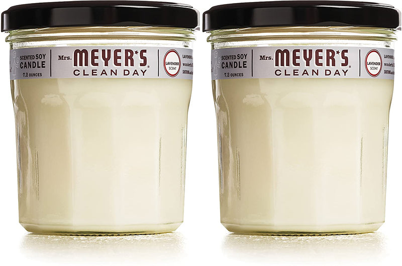 Mrs. Meyer's Clean Day Scented Soy Aromatherapy Candle, 35 Hour Burn Time, Made with Soy Wax, Lavender, 7.2 oz- Pack of 2