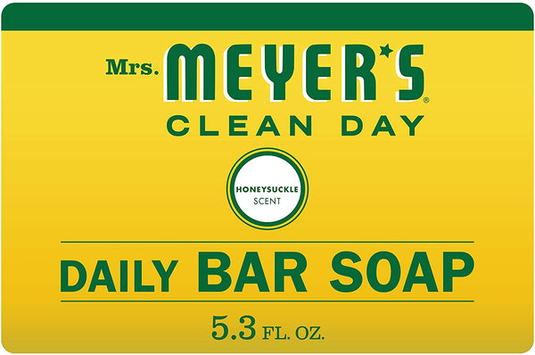 Mrs. Meyer's Clean Day Bar Soap, Use as Body Wash or Hand Soap, Cruelty Free Formula, Honeysuckle Scent, 5.3 oz