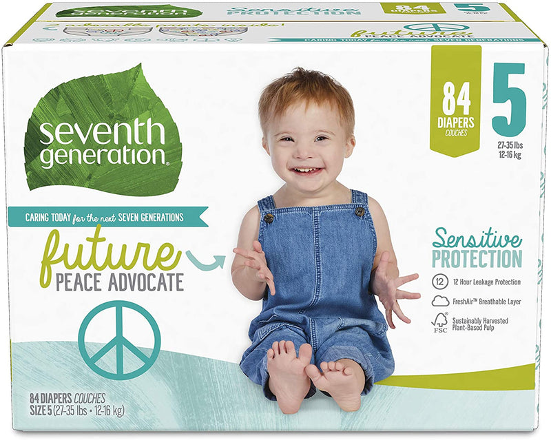 Seventh Generation Baby Diapers, Size 5, 84 Count, Giant Pack, for Sensitive Skin
