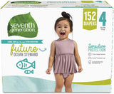 Seventh Generation Baby Diapers, Size 4, 152 count, One Month Supply, for Sensitive Skin