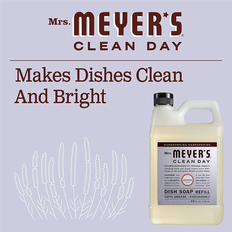Mrs. Meyer's Clean Day Liquid Dish Soap Refill, Cruelty Free Formula, Lavender Scent, 48 oz