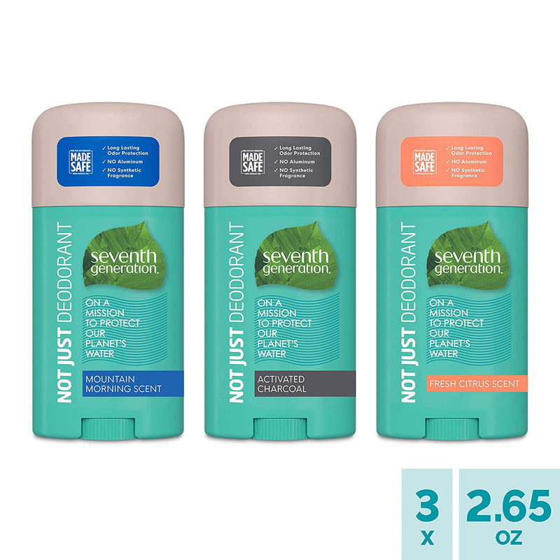 Seventh Generation Aluminum-Free Deodorant Variety Pack Mountain Morning, Fresh Citrus, Activated Charcoal Collection 2.65 oz 3 Count