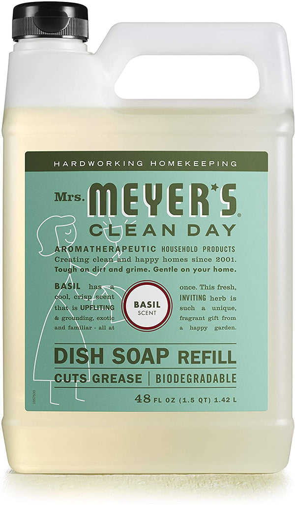 Mrs. Meyer's Clean Day Liquid Dish Soap Refill, Cruelty Free Formula, Basil Scent, 48 oz