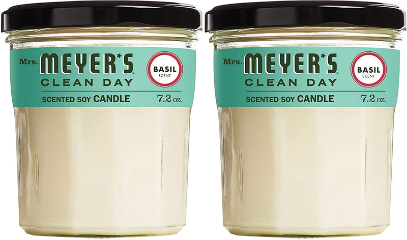 Mrs. Meyer's Clean Day Scented Soy Aromatherapy Candle, 35 Hour Burn Time, Made with Soy Wax, Basil, 7.2 oz- Pack of 2
