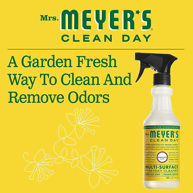 Mrs. Meyer's Clean Day Multi-Surface Everyday Cleaner, Cruelty Free Formula, Honeysuckle Scent, 16 oz- Pack of 3