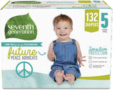 Seventh Generation Baby Diapers, Size 5, 132 count, One Month Supply, for Sensitive Skin