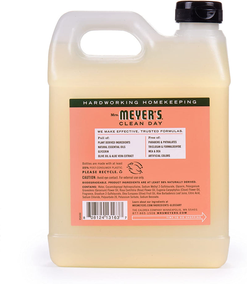Mrs. Meyer's Clean Day Liquid Hand Soap, Cruelty Free and Biodegradable Formula, Geranium Scent, 12.5 oz