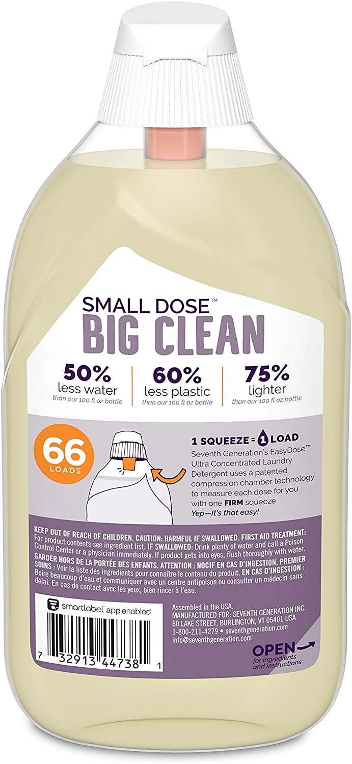 Seventh Generation Laundry Detergent, Ultra Concentrated EasyDose, Fresh Lavender, 23 oz, 66 Loads (Packaging May Vary)
