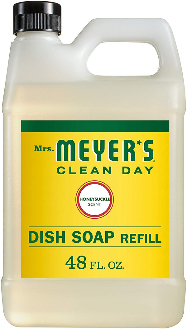 Mrs. Meyer's Clean Day Liquid Dish Soap Refill, Cruelty Free Formula, Honeysuckle Scent, 48 oz