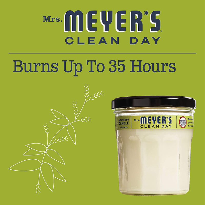 Mrs. Meyer's Clean Day Scented Soy Aromatherapy Candle, 35 Hour Burn Time, Made with Soy Wax, Lemon Verbena, 7.2 oz, 2 Count