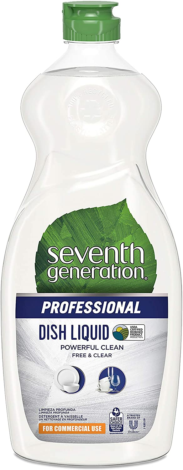 Seventh Generation Professional Dish Liquid, Free & Clear, Unscented, Hypoallergenic for Sensitive Skin, 25 fl oz (Pack of 12)