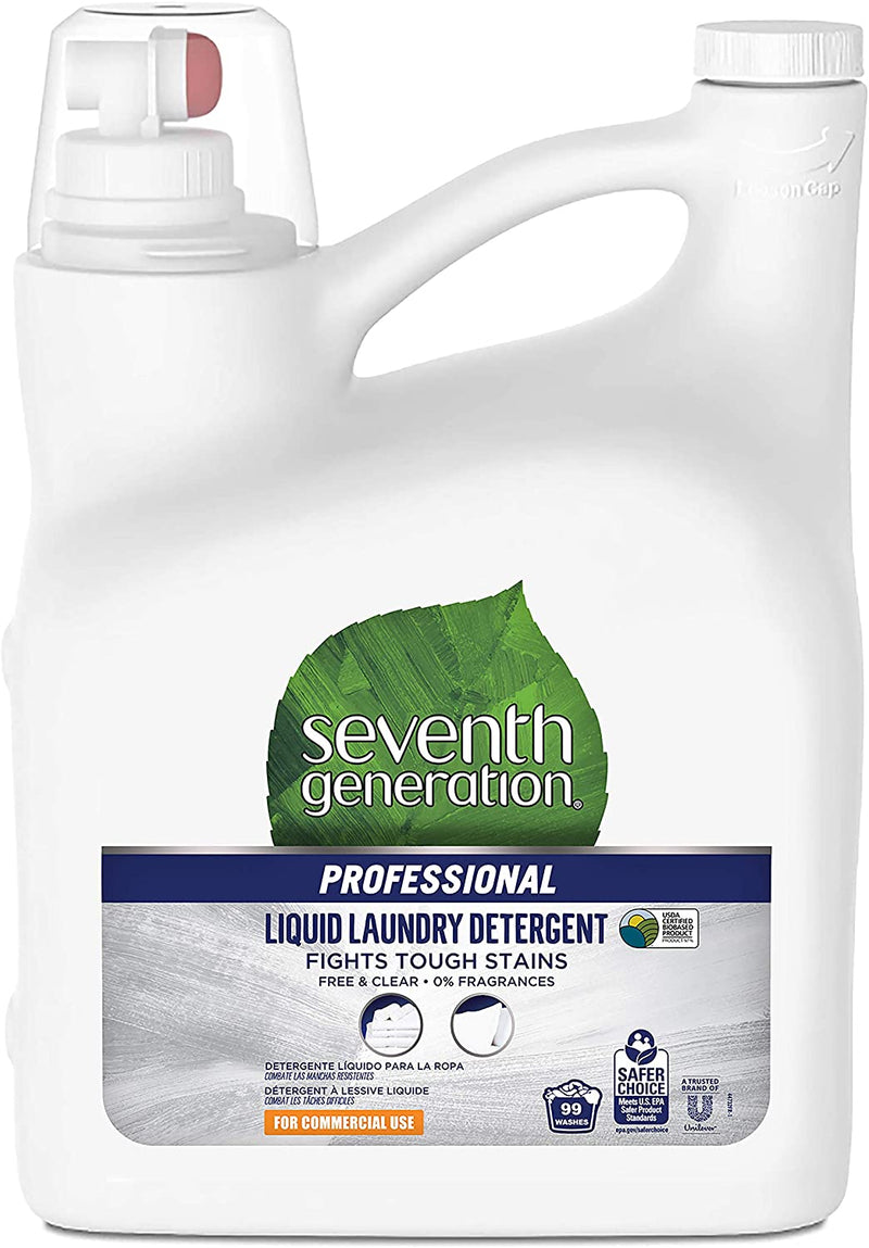Seventh Generation Professional Liquid Laundry Detergent, Free & Clear, Hypoallergenic, Unscented, 150 fl oz (Pack of 4)