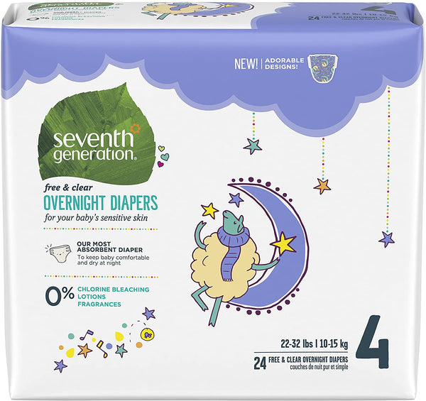 Seventh Generation Free & Clear Overnight Baby Diapers Stage 4, 22-32 lbs 24 count